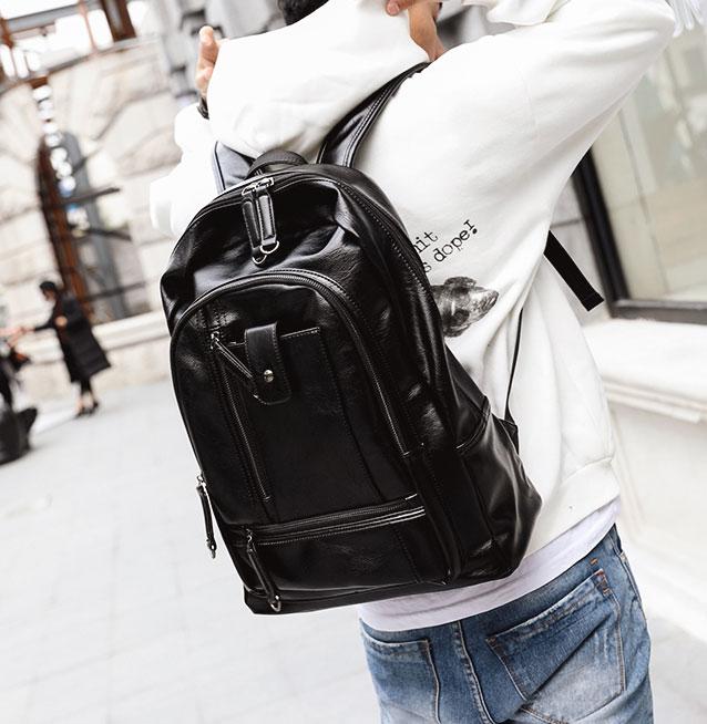Pre-order ขายส่งกระเป๋าเป้หนังสะพายหลัง ใส่คอมพิวเตอร์ 14 นิ้ว ใส่หนังสือ เปันักธุรกิจผู้ชายเแฟขั่นเกาหลี รหัส Man-7727 สีดำ