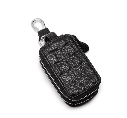 Pre-order กระเป๋าซิปคู่ใส่กุญแจบ้าน กุญแจรถยนต์ หนังนิ่ม คล้องเอว แฟขั่นเกาหลี รหัส Man-QB2006 สีดำ