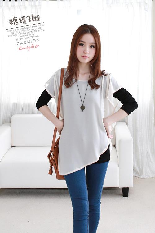 เสื้อผ้าแฟชั่น แฟชั่นเกาหลี ผ้าชีฟอง สีขาว แบบตามภาพ มีเสื้อแขนยาวข้างในให้ thaishoponline (พร้อมส่ง)