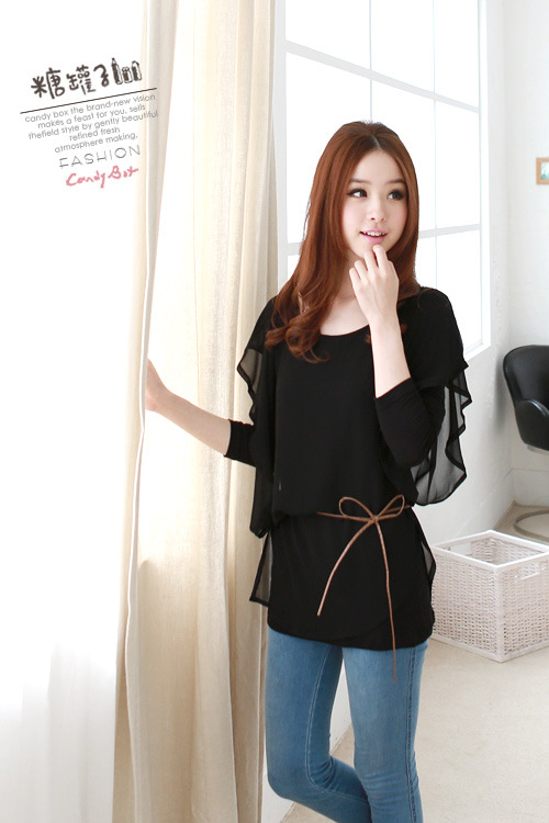 เสื้อผ้าแฟชั่น แฟชั่นเกาหลี ผ้าชีฟอง สีดำ แบบตามภาพ มีเสื้อแขนยาวข้างในให้ thaishoponline (พร้อมส่ง)