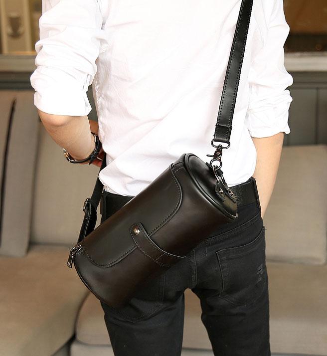 Pre-order กระเป๋าสะพายข้าง Messenger ผู้หญิง-ผู้ชาย ทรงหมอน ใส่ ipadmini 7.9 นิ้ว แฟขั่นเกาหลี รหัส Man-2035-28 สีดำ