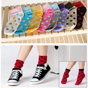 S043**พร้อมส่ง** (ปลีก+ส่ง) ถุงเท้าแฟชั่นเกาหลี ลายจุด พับข้อ มี 10 สี เนื้อดี งานนำเข้า(Made in china)