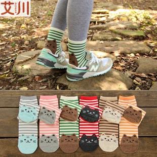 S276**พร้อมส่ง** (ปลีก+ส่ง) ถุงเท้าแฟชั่นเกาหลี ข้อยาว ลายแมว เนื้อดี งานนำเข้า(Made in China)