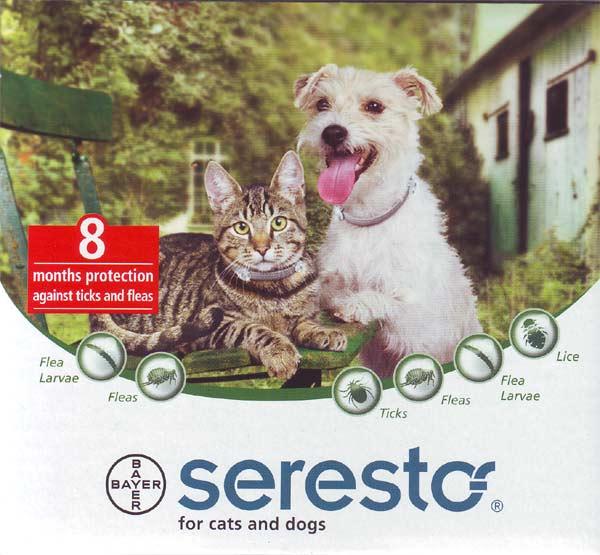 Seresto for Cats and Dogs : ซีเรสโต ความยาว 38 เซนติเมตร สำหรับแมว และสุนัขน้ำหนักน้อยกว่า 8 กิโลกรัม (แพ๊ค 6 ชิ้น)