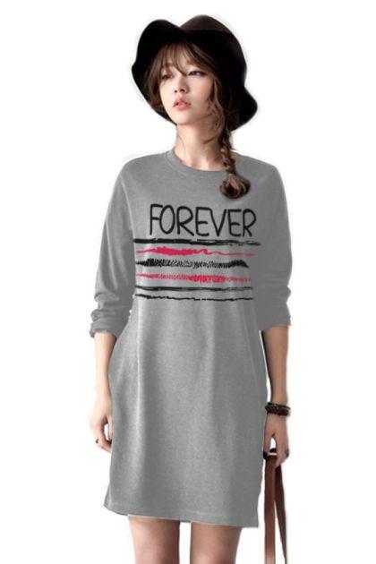 เสื้อยืดตัวยาว /แซกสั้น ผ้านุ่ม แขนยาว ลาย Forever (สีเทา)