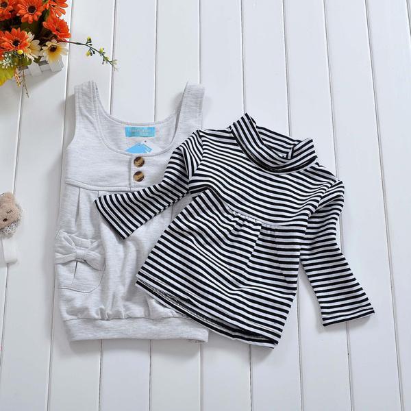 พร้อมส่ง เสื้อผ้าเด็กทารก เพศหญิง0-1-2-3 ปี ราคาส่งจากโรงงาน ชุดกระโปรงแขนยาว รหัส D0009 สีเทา 1 ชุด ไซร์ 80 (ส่วนสูง 66-73 cm )
