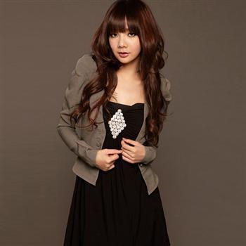เสื้อผ้าแฟชั่น เสื้อสูท (FASHION SUIT) ใส่ทำงาน สีกาแฟ ไหล่ยกสูง กระดุมหน้า น่ารักมากๆ เหมาะสำหรับสาวมั่น สาวออฟฟิต thaishoponline (พร้อมส่ง)