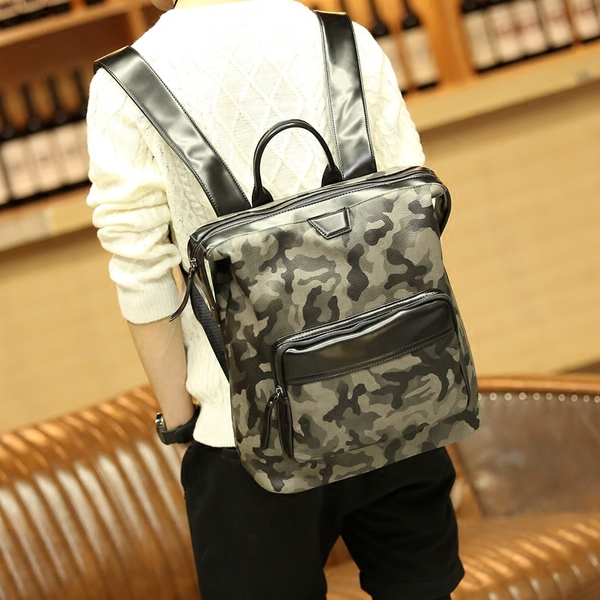 Pre-order กระเป๋าเป้สะพายหลัง เป้เดินทาง เป้นักเรียนผู้ชายแฟชั่นเกาหลี รหัส Man-8690 ลายทหารพราง