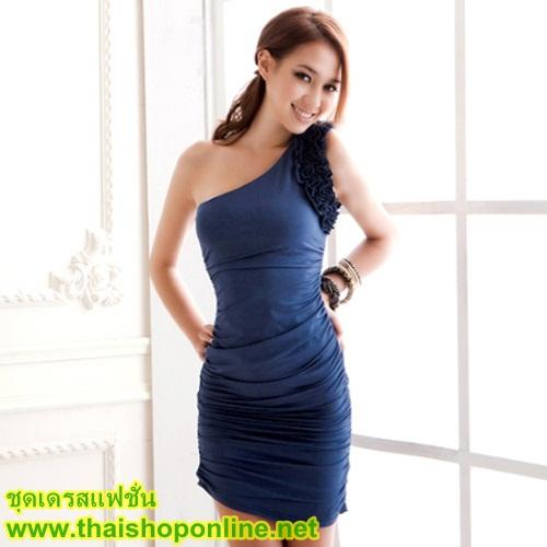 DRESS เดรสเข้ารูป เปิดไหล่ แฟชั่นเกาหลี แต่งระบายช่วงแขน สีน้ำเงิน เซ็กซี่ ใส่ออกงานกลางวัน สวยมากๆ ครับ thaishoponline (พร้อมส่ง)