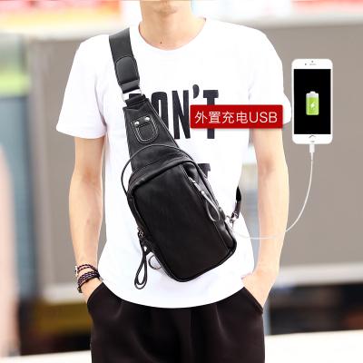 Pre-order กระเป๋าผู้ชายคาดไหล่ แฟขั่นเกาหลี ใส่ ipad 7.9 นิ้ว รหัส Man-2090-USB สีดำ