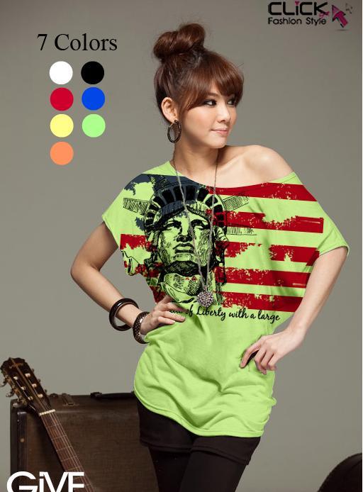 เสื้อยืดแฟชั่น ชายเสื้อดึงยาง ลาย Liberty Flag สีเขียว (คอปกติ ไม่กว้าง ไม่เปิดไหล่)