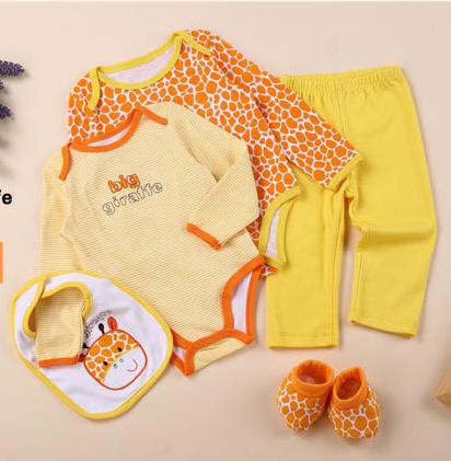 พร้อมส่ง Gift set ขายส่ง ชุดเด็กทารกใช้ได้ทั้งเพศหญิงและชาย รหัส T-66046-3M ไซร์ 3M (เด็ก 0-3 เดือน ) สีส้ม ลายยีราฟ 1 เช็ต / มี 5 ชิ้น
