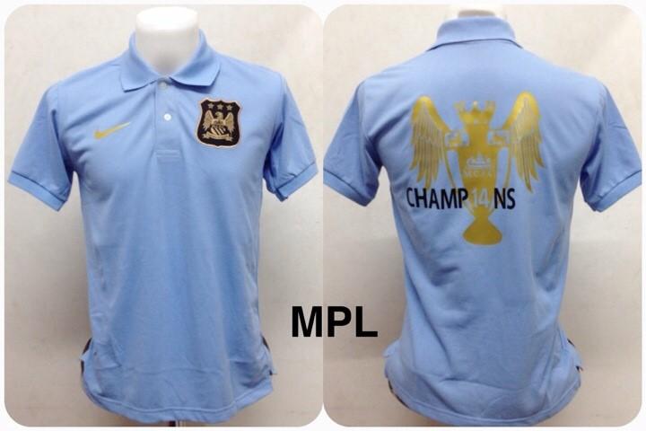 เสื้อโปโล แมนเชสเตอร์ ซิตี้ ลาย แชมป์พรีเมียร์ลีก 2013/2014 สีฟ้า MPL