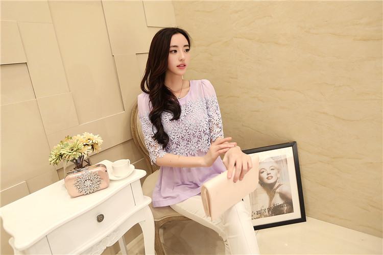 เสื้อผ้าชีฟอง แฟชั่นเกาหลี สีม่วง แขนยาวสามส่วน ช่วงอก และแขนเสื้อเป็นผ้าถักโครเชต์ลายดอกไม้