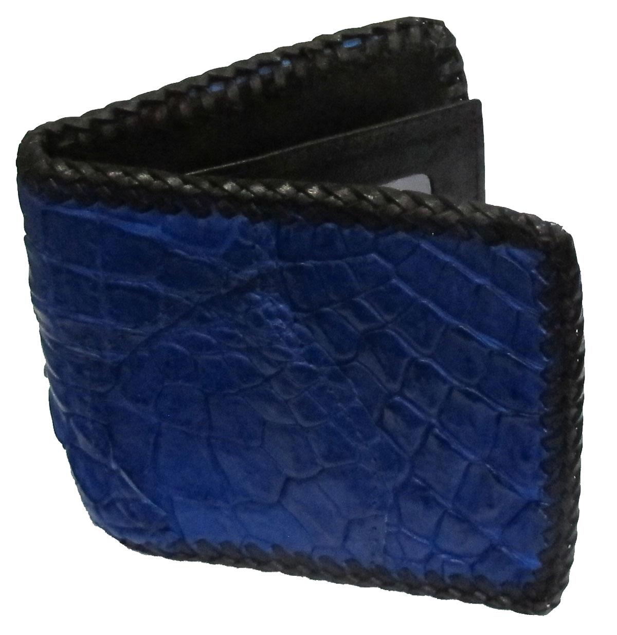 กระเป๋าสตางค์ 2 พับ หนังจระเข้เเท้ หนังต่อเย็บมือ สีน้ำเงิน