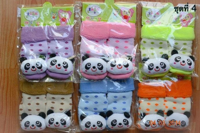 U024-4**พร้อมส่ง**(ปลีก+ส่ง) ถุงเท้าเด็กวัย 1-3 ขวบ ติดหัวสัตว์ พับข้อ มีเสียงกุ๊งกิ๊ง และมีกันลื่น เนื้อดี งานนำเข้า (Made in China)