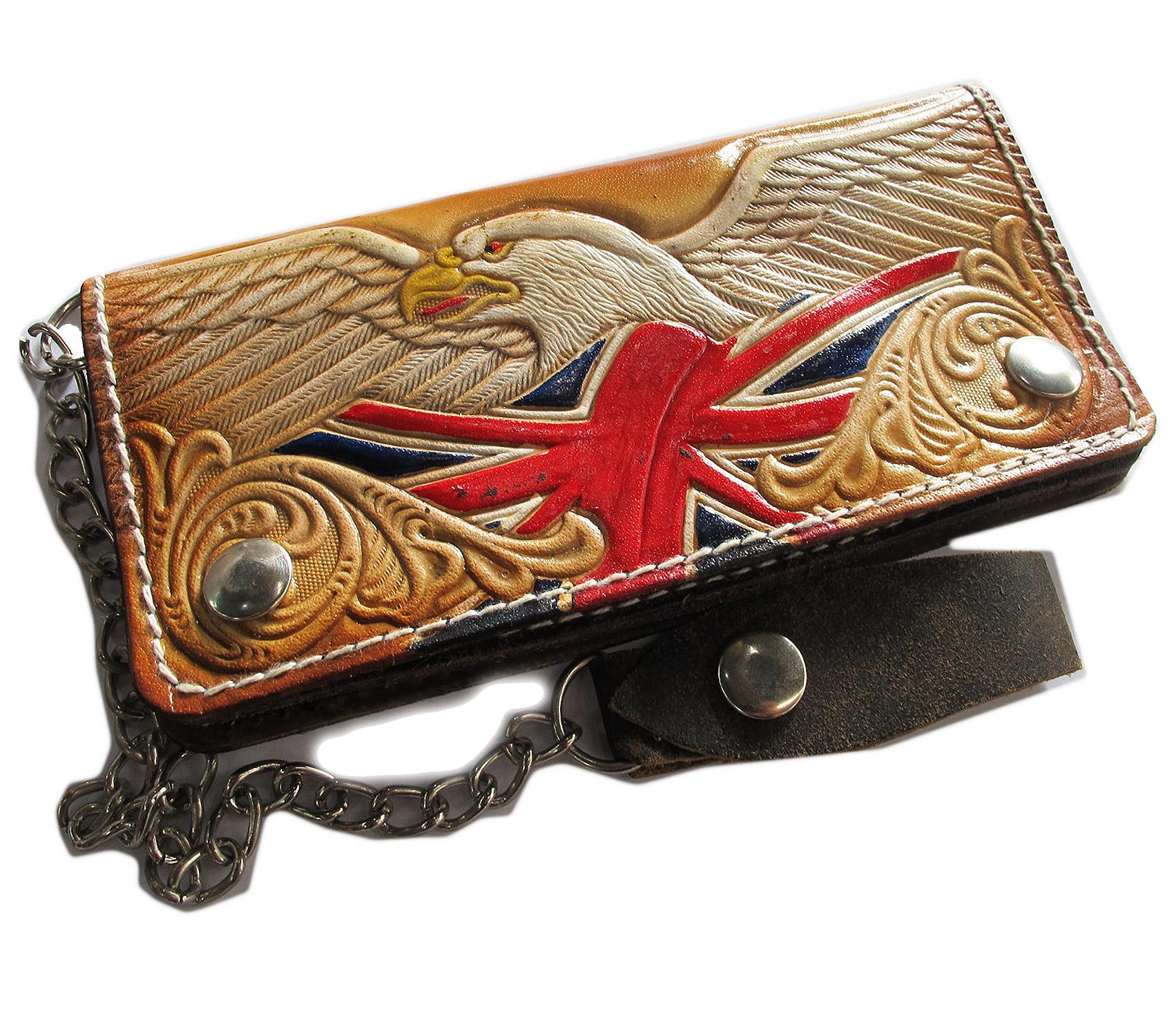 กระเป๋าสตางค์ยาว สีน้ำตาล ลวดลาย นกอินทรีย์ และรูปธงชาติอังกฤษ แบบ 2 พับ พร้อมโซ่