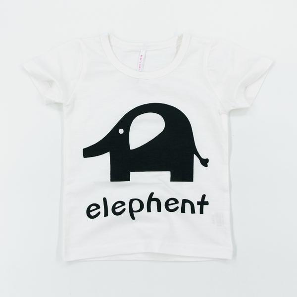 พร้อมส่ง เสื้อผ้าเด็กทารก 0-1-2-3 ปี ราคาส่งจากโรงงาน ฤดูร้อน เสื้อยืดผ้าฝ้าย เด็กชาย-หญิง รหัส K672B สีขาวลายช้างอินเดีย 1 ชุด ไซร์ 80 (ส่วนสูง 66-73 cm )