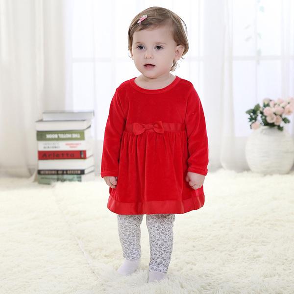 พร้อมส่ง เสื้อผ้าเด็กทารก เพศหญิง 1-2 ปี ราคาส่งจากโรงงาน รหัส H2101 ชุดกระโปรงสีแดง 1 ชุด ไซร์ 90 (ส่วนสูง 73-80 cm)