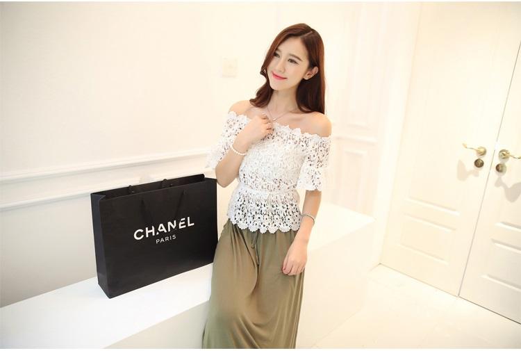แฟชั่นเกาหลี Set 2 ชิ้น เสื้อ + กระโปรง เสื้อ:ผ้าถักลายดอกไม้สีขาว มีซับใน กระโปรงยาว: ผ้าคอตตอนผสม สีเขียวขี้ม้า