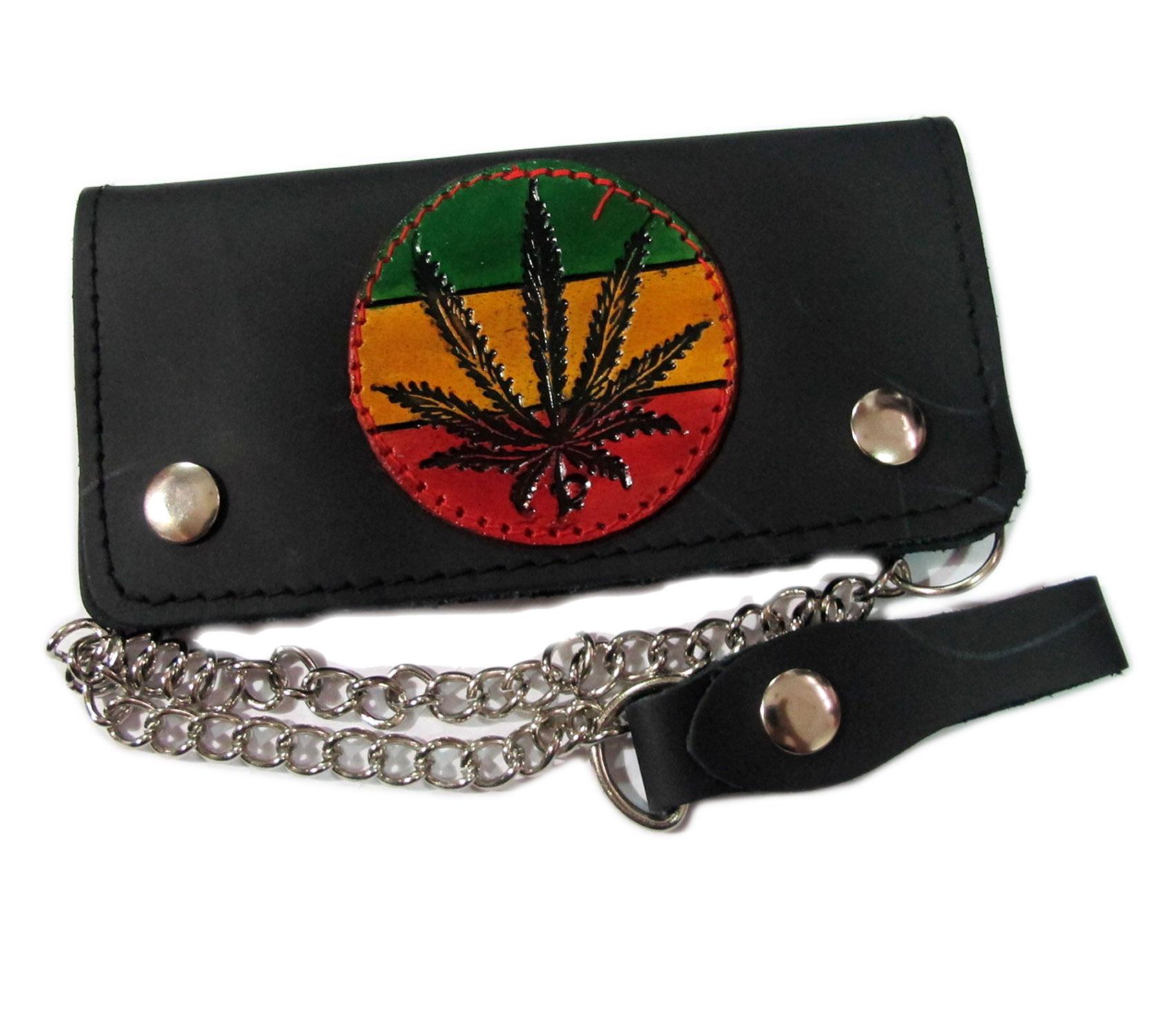 กระเป๋าสตางค์ยาว สีดำ รูปบ๊อบมาเลย์ ใบกัญชา เป็นกระเป๋าสตางค์แบบ 2 พับ พร้อมโซ่