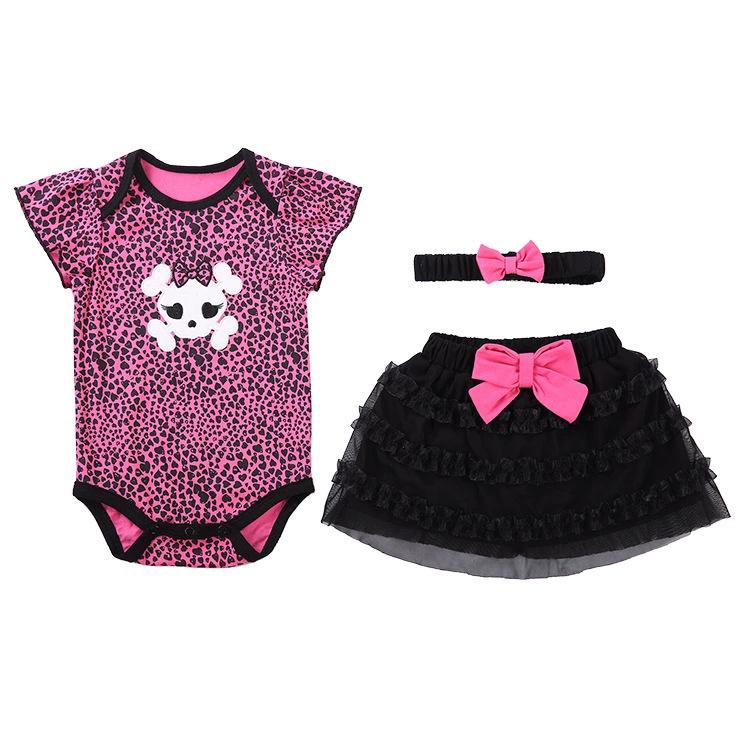 พร้อมส่ง เสื้อผ้าเด็กผู้หญิง ราคาส่งจากโรงงาน ชุดปริ๊นเซทกระโปรงสั้นกับผ้าคาดผม รหัส T-66040 สีชมพูลายเสือดาว1 ชุด ไซร์ 18M (อายุ 18 เดือน )
