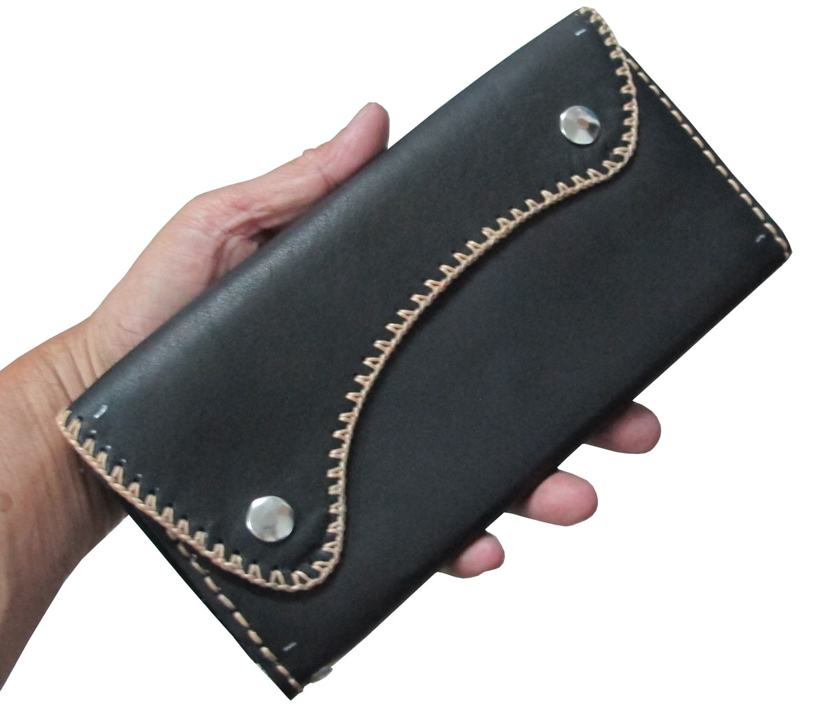 กระเป๋าสตางค์ยาว หนังวัวแท้ สีดำ แบบด้าน เรียบง่าย ทันสมัย ด้วย Styles Cassic