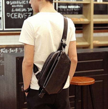 Pre-order กระเป๋าหนังคาดอก คาดไหล่ สะพายไหล่ ใส่ ipad 8 นิ้ว ผู้ชายแฟชั่นเกาหลี รหัส Man-6039 สีดำ