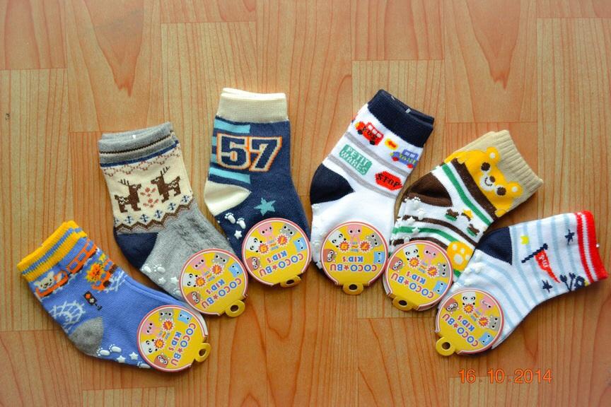 U040-3 **พร้อมส่ง** (ปลีก+ส่ง) ถุงเท้าเด็กเล็กชาย 0-1 ขวบ COCO & BU (ขนาด 7-9 cm.) มีกันลื่น เนื้อดี งานนำเข้า ( Made in China)