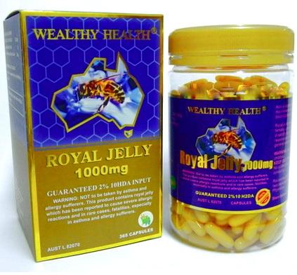 Wealthy Health Royal Jelly นมผึ้งโดม Wealthy Health Royal Jelly 1000 mg. 2%10DHA 365 Caps (อาหารเสริมโดมทาน) นมผึ้ง ปกป้องเซลล์ในร่างกาย ฟื้นฟูเซลล์ คงความอ่อนเยาว์และความสวย