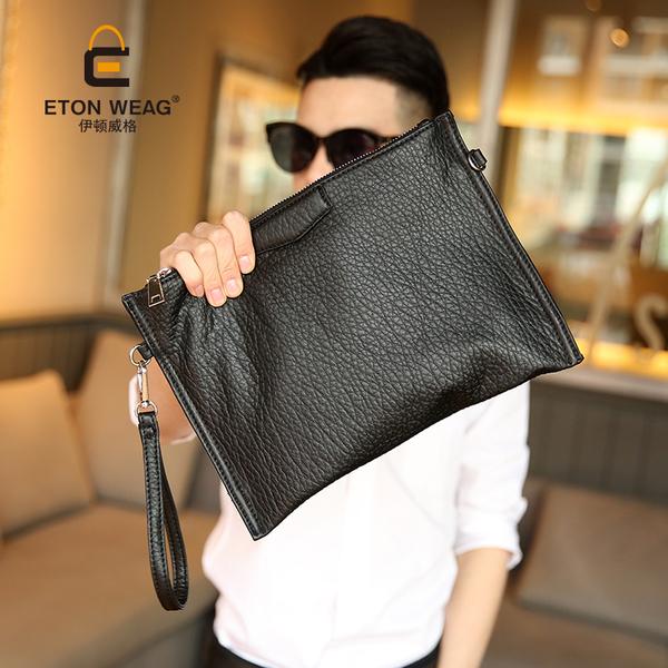 Pre-order กระเป๋าคลัทซ์ผู้ชายแฟขั่นเกาหลี ใส่ ipad 10 นิ้ว พร้อมสายคล้องมือ รหัส Man-8148 สีดำ