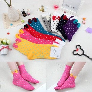 A033**พร้อมส่ง** (ปลีก+ส่ง)ถุงเท้าแฟชั่นเกาหลี โบว์ลายจุด ข้อสูง มี 8 สี ดำ เทา ฟ้า แดง ม่วง เหลือง ชมพู ขาว เนื้อดี งานนำเข้า (Made in Korea)