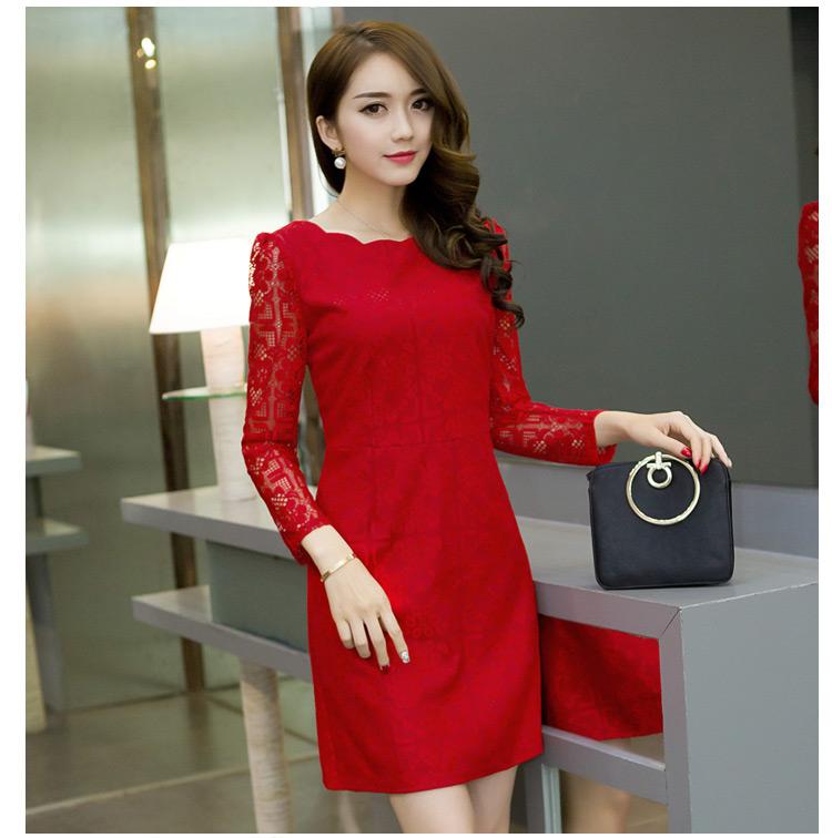 ชุดเดรสสวยๆ ผ้าลูกไม้ถัก สีแดง ยืดหยุ่นได้ แขนยาว สวยน่ารักสุดๆ