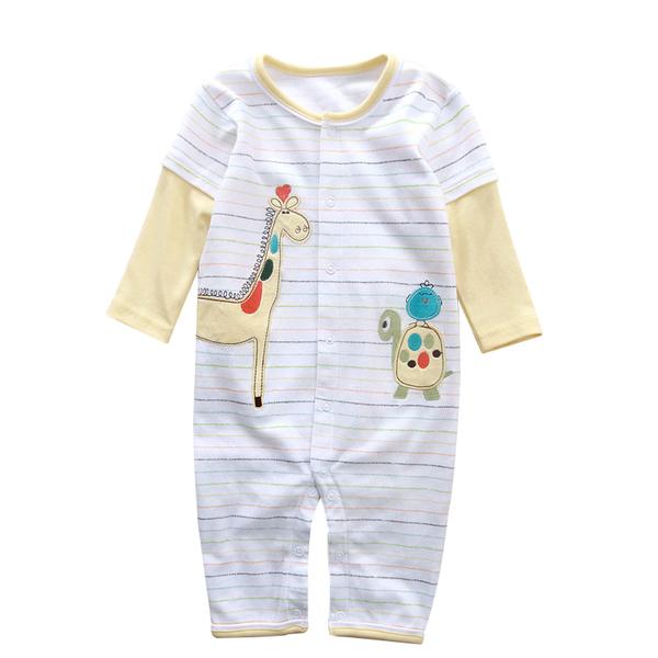 พร้อมส่ง เสื้อผ้าเด็กทารก 0-1-2 ปี ราคาส่งจากโรงงาน ใช้ได้ทั้งเด็กหญิงเด็กชาย ชุดหมีแขน-ขายาว รหัส CP506 สีครีมลายยีราฟ ไซร์ 9M (ส่วนสูง 73 cm )
