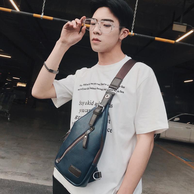พร้อมส่ง กระเป๋าผู้ชายคาดไหล่ คาดอก Messenger ใส่ ipad 8 นิ้ว แฟชั่นเกาหลี รหัส Man-5007 สีน้ำเงินเข้ม 2 ใบ