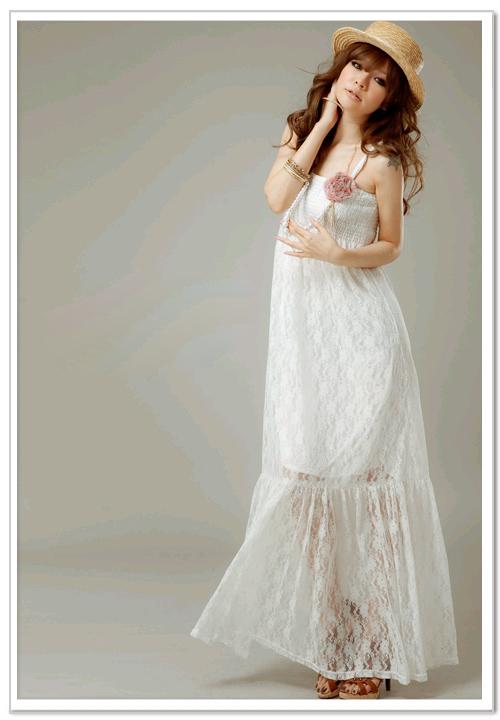 MAXI DRESS - ชุดเดรสยาวผ้าลูกไม้ แฟชั่น สายเดี่ยว จับสม๊อกช่วงหน้าอก สีขาว ใส่ไปงานแต่งงาน น่ารัก ใส่ออกงาน สวยมากๆ (พร้อมส่ง)