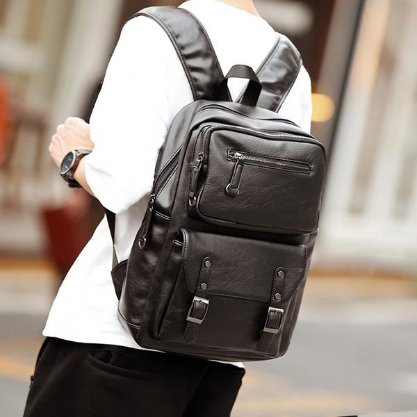 Pre-order กระเป๋าเป้สะพายหลัง เป้หนัง ใส่คอมพิวเตอร์นักธุรกิจ แฟชั่นเกาหลี รหัส Man-9901 สีดำ