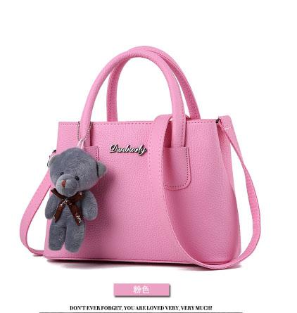 พร้อมส่ง กระเป๋าถือและสะพายข้างใบเล็ก ผู้หญิง แฟชั่นสไตล์เกาหลี รหัส KO-699 สีชมพู 2 ใบ *แถมตุ๊กตาหมี