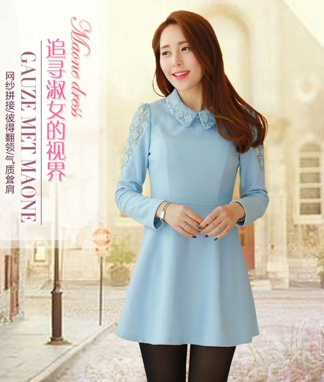 ชุดเดรสสั้น Brand Bluearly แท้ 100% ชุดเดรสออกงาน ผ้าฝ้ายอย่างดี คอปกโปโลพิมพ์ลายสีฟ้า แขนยาว