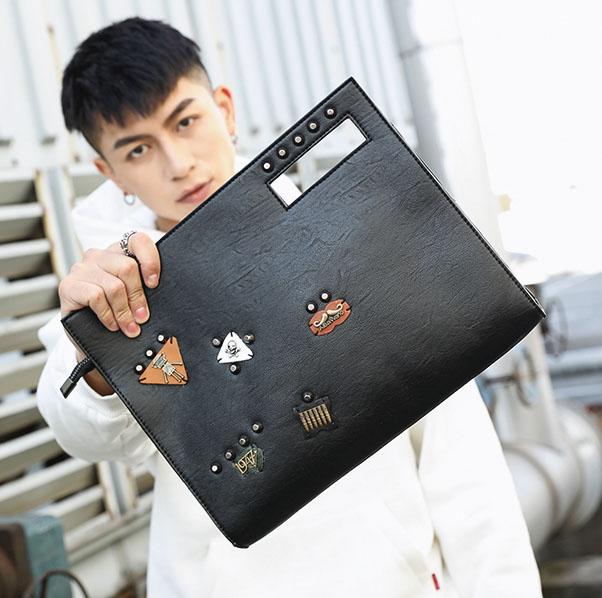 Pre-order กระเป๋าถือและสะพายข้าง แฟชั่นเกาหลี รหัส Man-8890 สีดำ