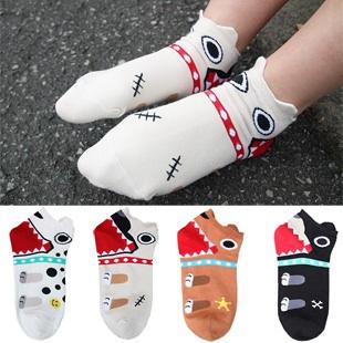 A038**พร้อมส่ง**(ปลีก+ส่ง) ถุงเท้าแฟชั่นเกาหลี ข้อสั้นมีหู มี 5 สี ขาว ครีม แทน ดำ เทา เนื้อดี งานนำเข้า( Made in Korea)