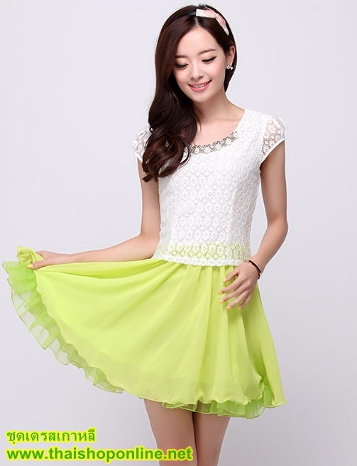 ชุดเดรสสั้น แฟชั่นเกาหลี น่ารัก สีเขียว เสื้อลูกไม้ สีขาว แขนสั้น กระโปรงสั้นชีฟอง ซิปข้าง เหมือนแบบ (มีรูปสินค้าจริง) พร้อมส่ง