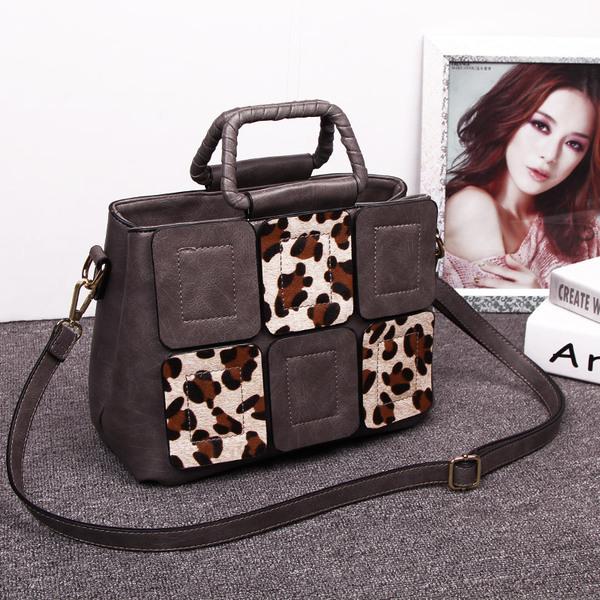 กระเป๋าถือและสะพายข้างแฟชั่นเกาหลี ยี่ห้อ MICHERR สีเทาลายเสือดาว
