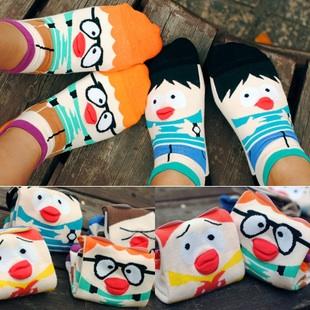 A009**พร้อมส่ง**(ปลีก+ส่ง) ถุงเท้าแฟชั่นเกาหลี ลายจมููก 3 มิติ มี 5 แบบ เนื้อดี งานนำเข้า( Made in Korea)