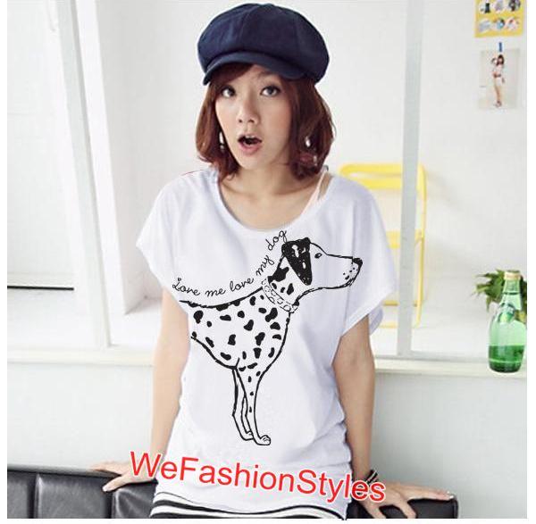 เสื้อยืดแฟชั่น ผ้านุ่ม ลาย Love Me (Size M:32-36 นิ้ว) สีขาว