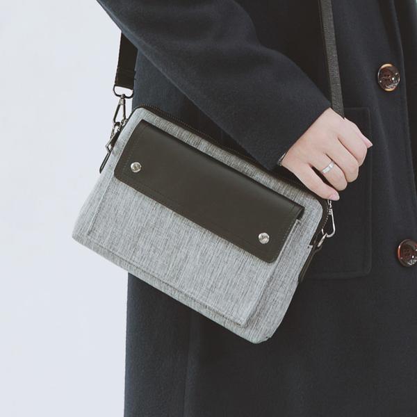 Pre-order กระเป๋าผ้าสะพายข้างนักธุรกิจ ใส่ ipad 8 นิ้ว แฟขั่นเกาหลี รหัส Man-1289-7 สีเทา