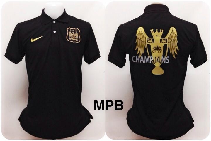 เสื้อโปโล แมนเชสเตอร์ ซิตี้ ลาย แชมป์พรีเมียร์ลีก 2013/2014 สีดำ MPB