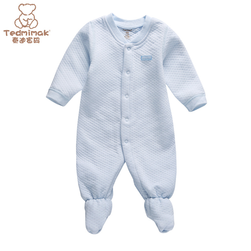 พร้อมส่ง เสื้อผ้าเด็กทารกแรกเกิด 0-1 ปี ราคาส่งจากโรงงาน ใช้ได้ทั้งเด็กหญิงเด็กชาย jump suit Romper ชุดหมี แขน-ขายาวคลุมเท้า รหัส T-13020 สีฟ้า ไซร์ 66 (ส่วนสูง 66cm )