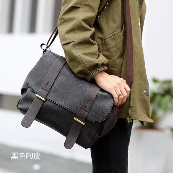 Pre-order ขายส่ง กระเป๋าผู้ชายสะพายข้าง School bag และ Messenger bag แฟขั่นเกาหลี รหัส Man-2642-2 รุ่นหนังสีดำ