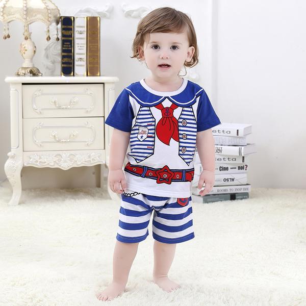 พร้อมส่ง เสื้อผ้าเด็กทารก เด็กชาย 0-1 ปี ราคาส่งจากโรงงาน ชุดสูทแขนสั้น รหัส H2140 สีน้ำเงินลายกองทัพเรือ 1 ชุด ไซร์ 80 (ส่วนสูง 66-73 cm )